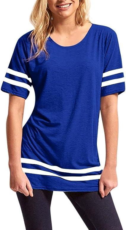toamen – Camiseta de rayas Mujeres, mango corto deporte blusa ...