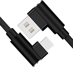 Note 9 Charger USB Type C Cable AIKIN USB-C Fast Charging 9FT Right Angel 90 Degree Nylon Braided Cord for Galaxy S10 S9 S8 Plus, Note 8, Pixel 3XL, Moto Z Z3, USB C 2.0 Devices (Black 2 Pack 10FT)