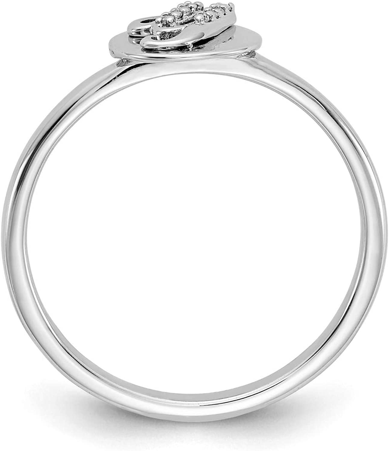 14k White Gold w//Diamond Accent Initial Letter Y Ring Size 7