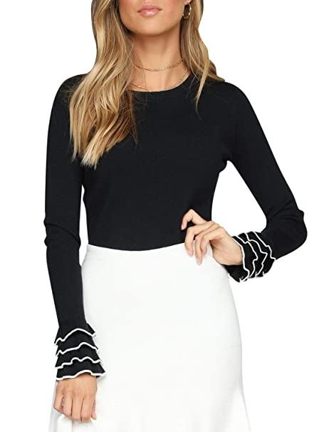 6924d55ed82b0e BerryGo Women's Ruffle Round Neck Sweater Long Sleeve Ribbed Kintted  Pullover Top Black,S