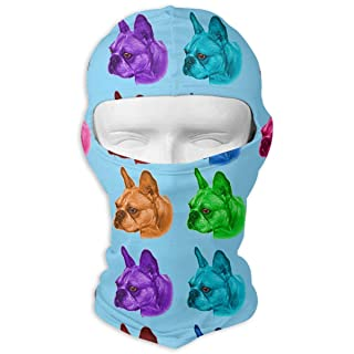 Colorful French Bulldog Head Balaclava UV Protection Windproof Ski Face Masks for Cycling Outdoor Sports Full Face Mask Breathable