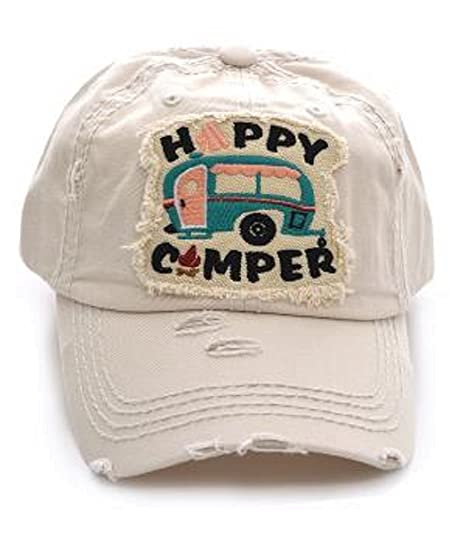 KB Adjustable Happy Camper Cap Hat (Beige Off-White) at Amazon ... d9c7f304c99d