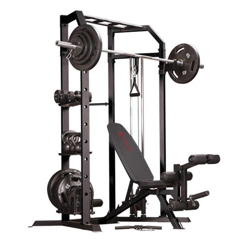 Marcy Olympic Strength Cage System and Multipurpose Utility Slant Board Bench