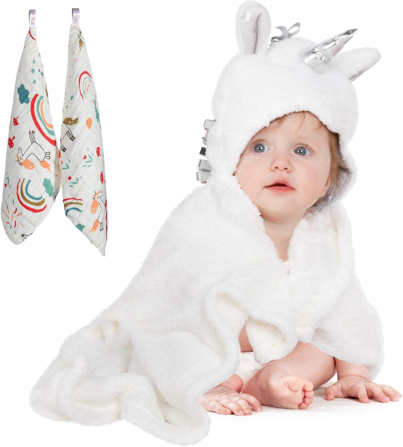 Serviette de bain et d/ébarbouillettes avec capuchon Viviland Baby cadeau id/éal pour les nourrissons et les nouveau-n/és paquet de 6 toucher doux et forte absorption