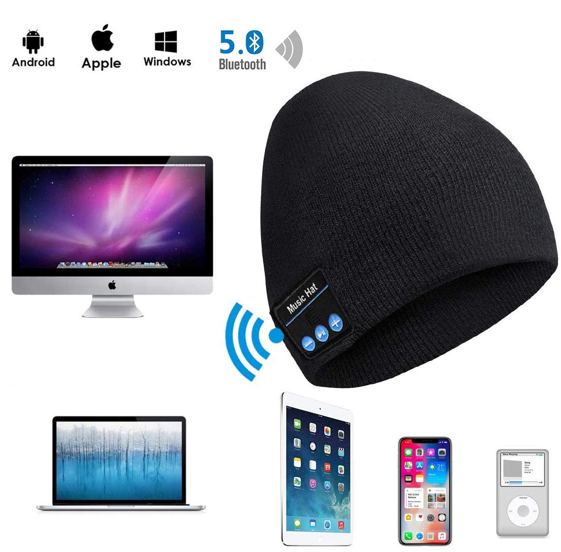 Bluetooth Beanie, Bluetooth Hat,Women Mens Gifts Winter Knitted Beanie Cap with Wireless 5.0 Stereo Earphone Headphone for Running Skiing,Thanksgiving Day for Men/Women,Teenagers,Lover