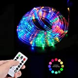 YoungPower LED Rope Lights Outdoor Battery Operated String Lights 40ft 120LED Strip Light Fairy Lights 8 Modes with Remote Co