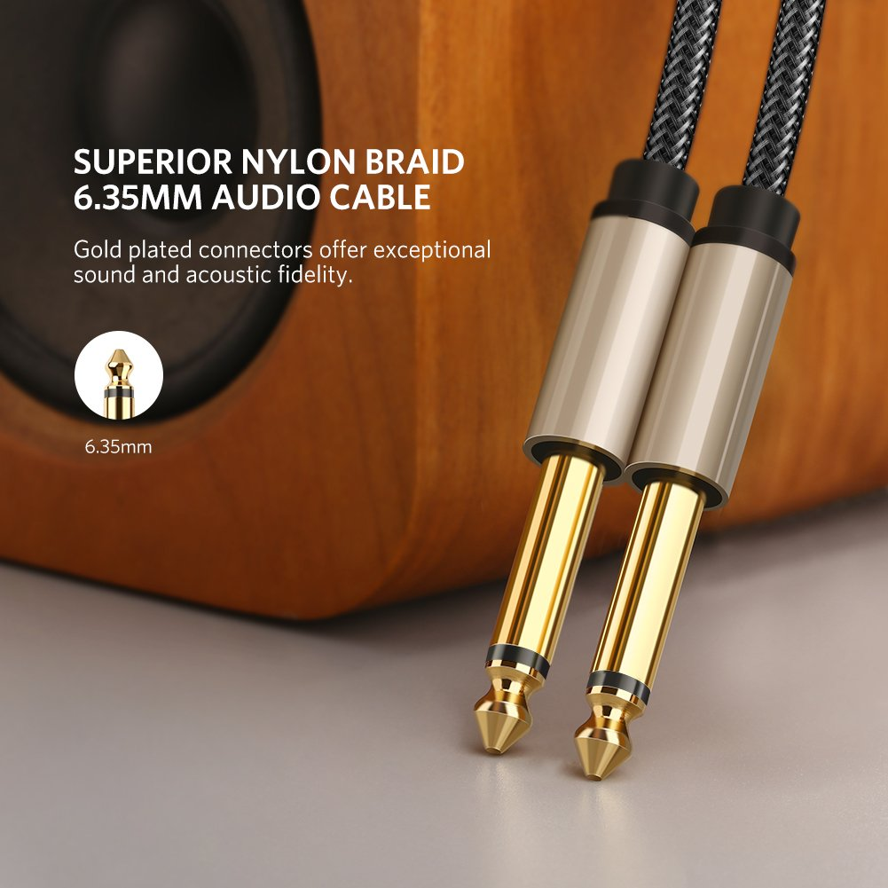 Ugreen Guitar Lead Nylon Braid Electric Instrument Cable Mono Jack Wiring 635mm 1 4 To