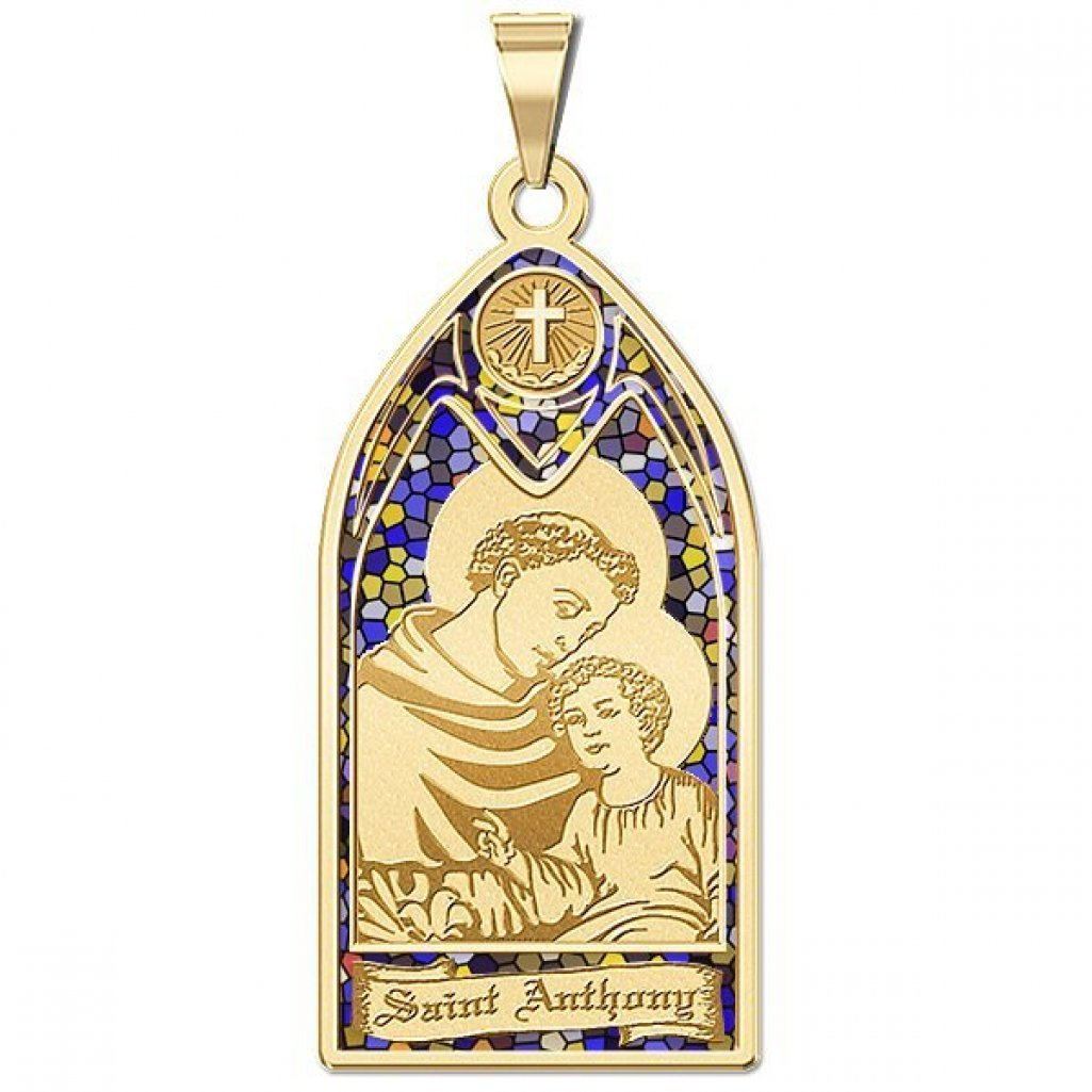 Saint Anthony - Stained Glass Religious Medal - 1/2 Inch X 1 Inch -Solid 14K Yellow Gold