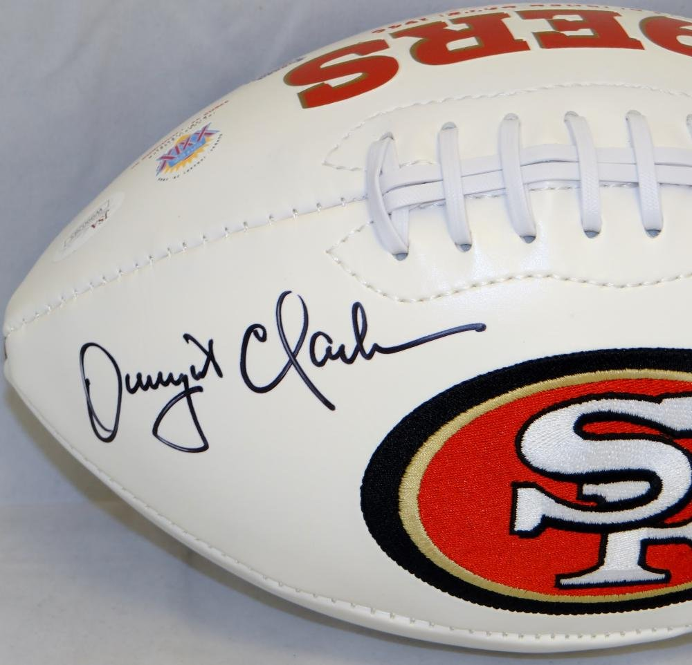 """Dwight Clark Autographed 49ers Logo Football With """"The Catch""""- JSA W Auth  at Amazon's Sports Collectibles Store"""