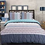 king side duvet cover - Jml Multi-Color Duvet Cover Set With Simple Geometric Pattern Printed, Comforter Cover, Comfortable, Breathable and Soft Microfiber Material by 2-Side Printing, Zipper Closure & Corner Ties-3Pcs King
