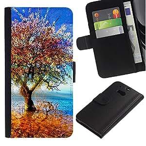 YiPhone /// Tirón de la caja Cartera de cuero con ranuras para tarjetas - Árbol colorido - HTC One M8