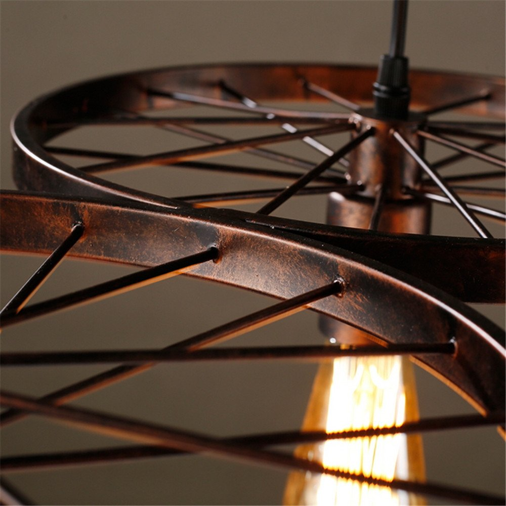Navimc industrial rustic wagon wheel chandeliers pendant light navimc industrial rustic wagon wheel chandeliers pendant light fixture for kitchen island dining room copper amazon arubaitofo Choice Image