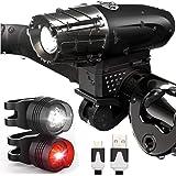 Luz Bicicleta USB Recargable, LED Luces Bicicleta Delantera y Trasera, IPX5 Resistente con 4 Modes, Super Brillante Faros Del