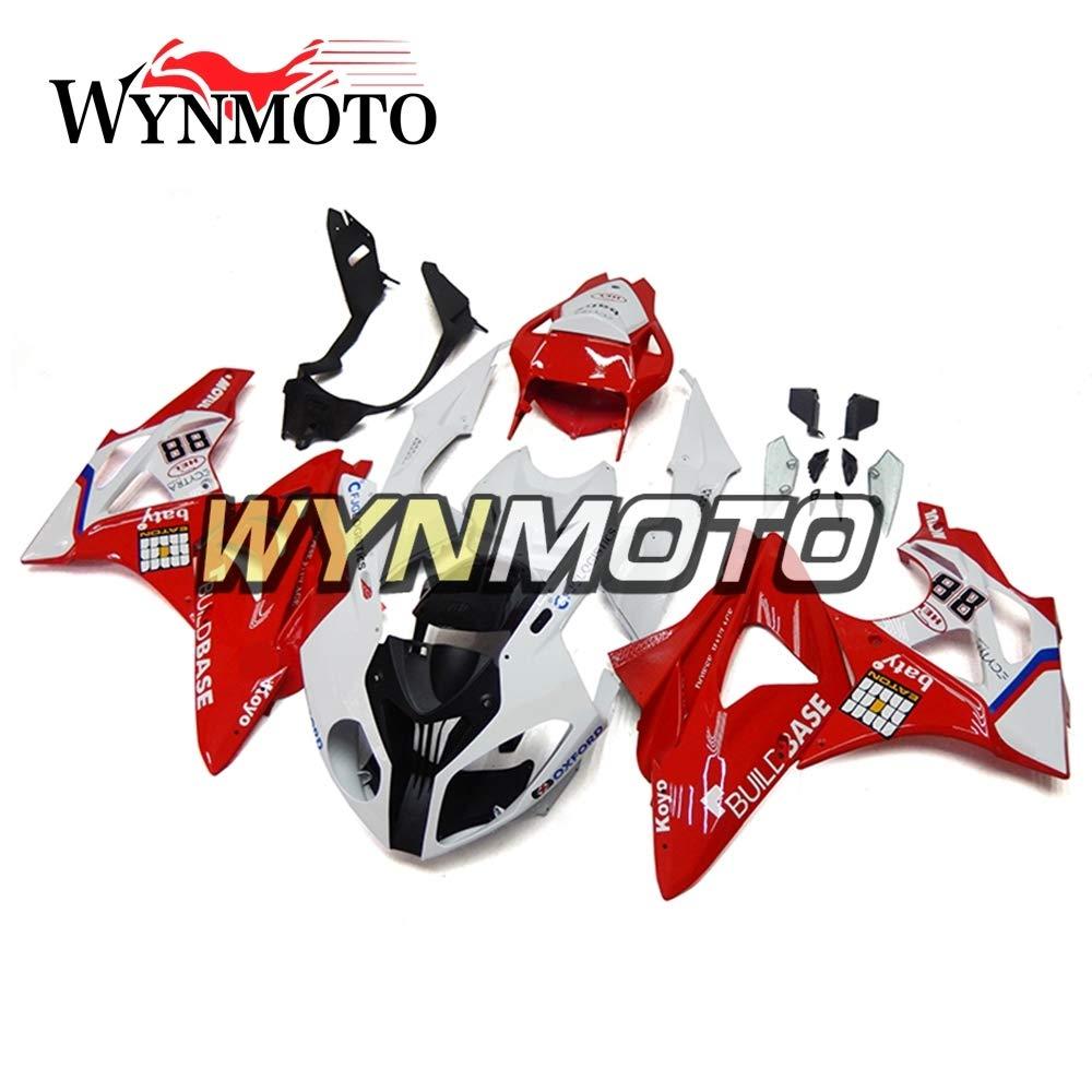 WYNMOTO 外装部品セット適応 BMW S1000RR 2011 2012 2013 2014 11-14 年射出プラスチック ABS 樹脂赤と白のボディ   B075WRVTNJ