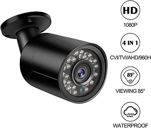 Dericam 1080P 1920TVL CCTV Security Camera for Home Surveillance, 4-in-1 CVI TVI AHD 960H Bullet Camera with IP66 Weatherproof, 82ft Night Vision, B2B, Black