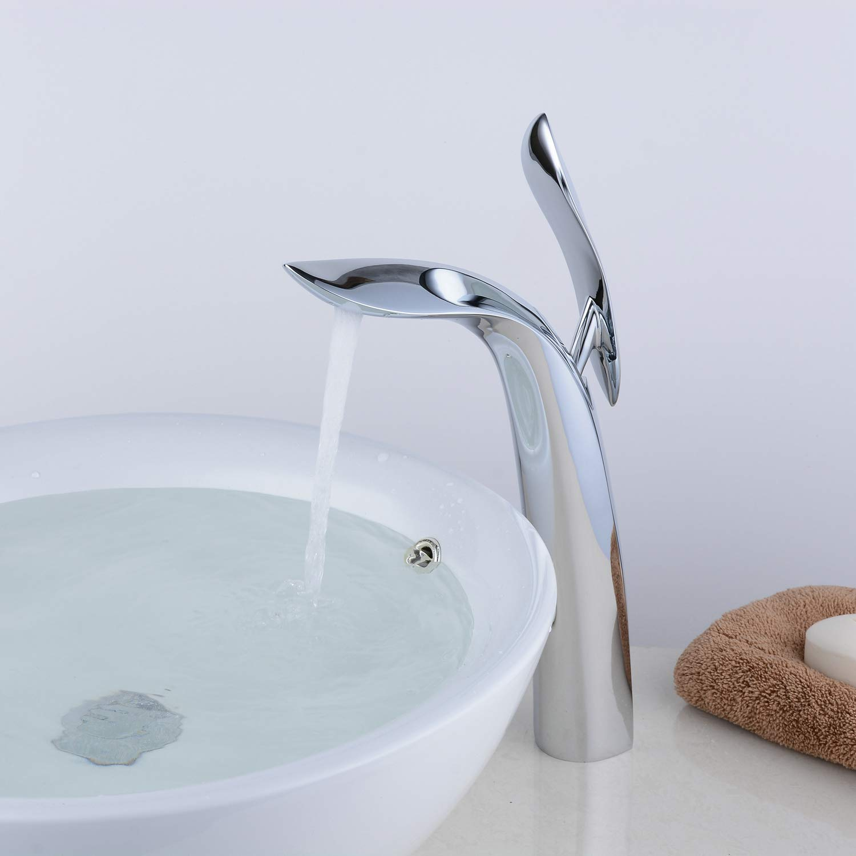 argent Noir Robinet mitigeur moderne avec poign/ée unique Robinet de lavabo haut de gamme pour lavabo sur/élev/é