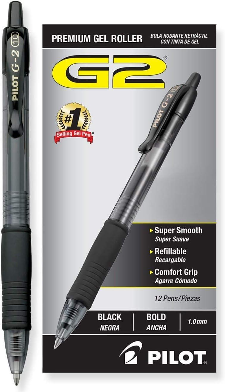 Bold Pt-Black Pilot G2 Retractable Premium Gel Ink Roller Ball Pens