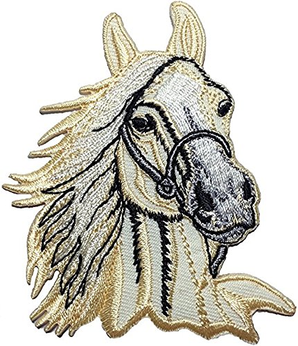 Canada Star Trek Costumes (Horse Head Riding Farm Kids Children Baby Sew Iron on Embroidered Applique Emblem Badge Costume Patch By Thai Vintage (1))