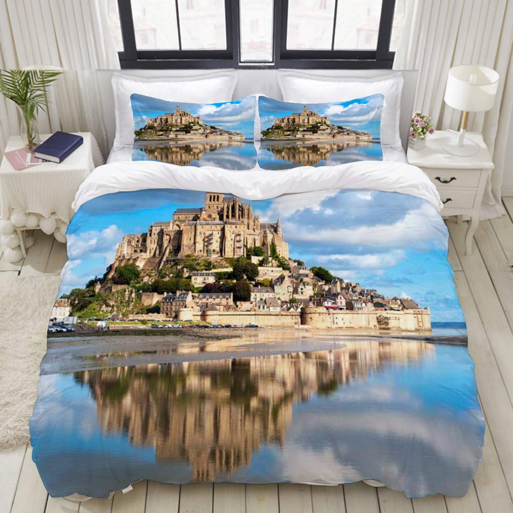 "LIASDIVA Duvet Cover,Castle Mont Abbey Saint Tourist Michele France Michel Normandy Medieval Mount Brittany Michael,Bedding Set Ultra Comfy Lightweight Luxury Microfiber Sets (3pcs King Size 104""88"")"