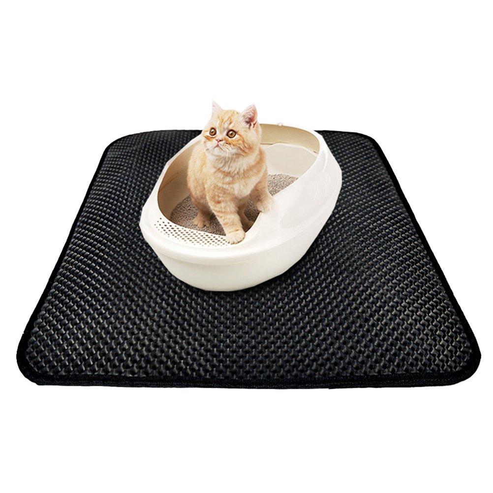 UEETEK 55x70cm 2-Layer Cat Litter Mat Waterproof Litter Trapping Mat Tracking Litter Out of Litter Box