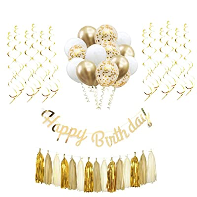 Happy Birthday Decorations,Gold party supplies,Birthday Party Kit Includes Gold Happy Birthday Banner,Metallic Latex Balloons in White and Gold,Confetti Balloons,Gold Hanging Swirls and Tassel Garland: Toys & Games