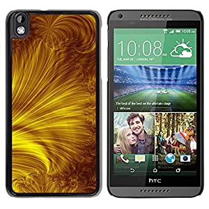 LECELL--Funda protectora / Cubierta / Piel For HTC DESIRE 816 -- Yellow Gold Rays Abstract --