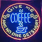 GIVE ME Coffee and NO ONE GET Hurt Real Glass Neon Light Sign Home Beer Bar Pub Recreation Room Game Room Windows Garage Wall Store Sign (18''×18'' Large)