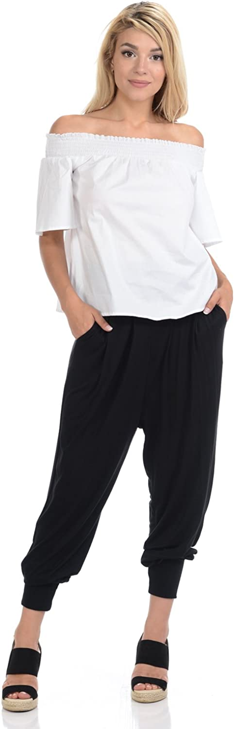 ICONIC LUXE WOMEN`S BANDED WAIST HAREM JOGGER PANTS POCKETS