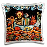 3dRose 3D Rose the Devil S Dream Folk Art Skulls Mexican Colorful Surrealism Design Pillowcase, 16'' x 16''