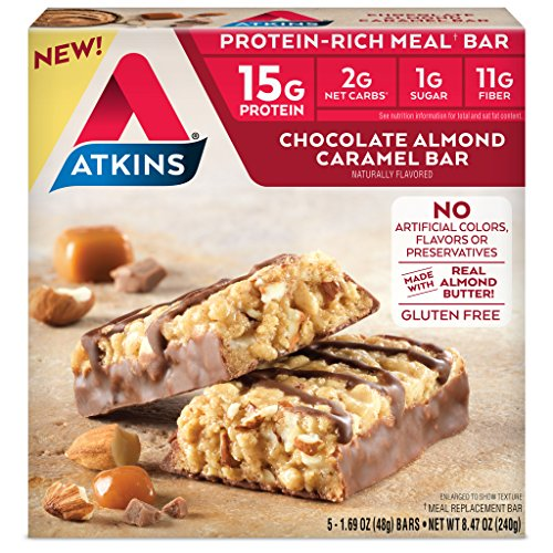 Atkins Protein-Rich Meal Bar, Chocolate Almond Caramel, Keto Friendly, 5 Count (Sweet Coconut Wine)
