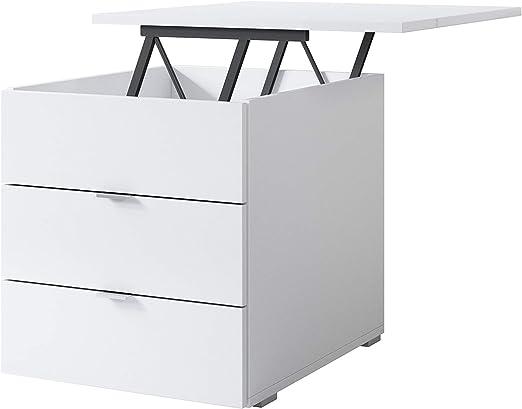 muebles bonitos Mesita de Noche Saler elevable Blanco: Amazon.es ...