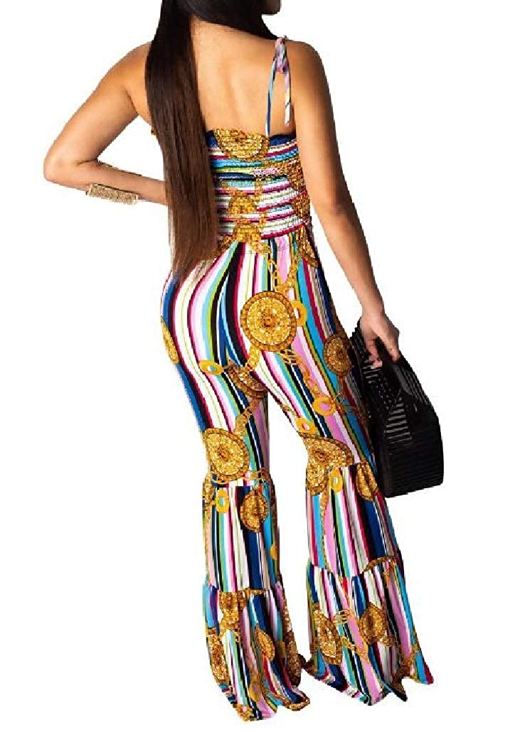 DressU Womens Slim Fit Flared Chest Wrapped Multicolor Striped Printed Jumpsuit Trousers