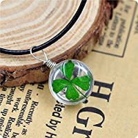 Saengthong New Real Green Lucky Shamrock Four Leaf Clover Round Glass Pendant Necklace Gift