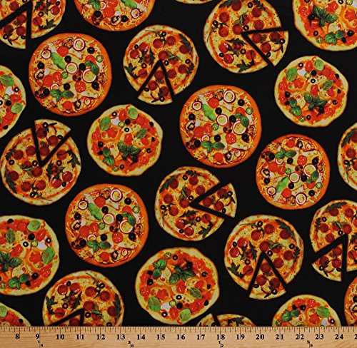 Cotton Pizzas Pizza Slices Toppings Pepperoni Olives Supreme Food on Black One of a Kind Cotton Fabric Print by The Yard - One Topping Pizza