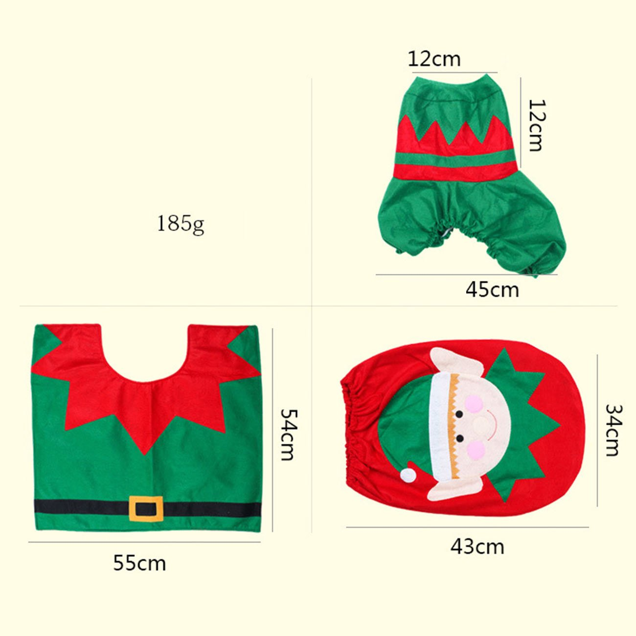THEE Weihnachten Toilettensitzbezug Badezimmer WC Sitzbez/üge Tankabdeckung Matte und Teppich Weihnachtsdekoration 3er Set