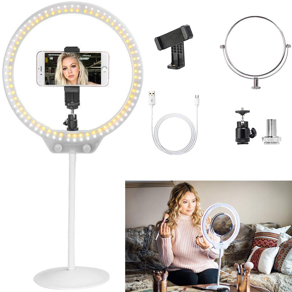 ZOMEI 10 Inch Dimmable LED Ring Light for Selfie Makeup with Mirror, Phone Holder (White) by ZOMEI (Image #1)