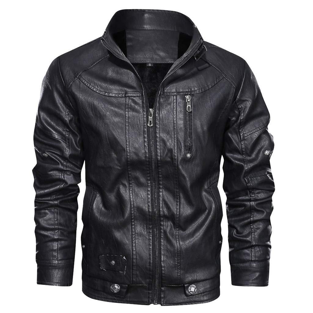 Redacel Men's Vintage Stand Collar Leather Jacket Warm Casual Biker Motorcycle Cool Bomber Jacket (Black,L) by Redacel