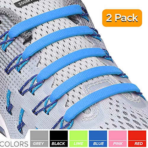 2SPORTIFY No Tie Shoelaces for Kids and Adults - Tieless Elastic Shoe lace for Sneakers Silicone Flat Laces (2 Pack) (White - Blue)