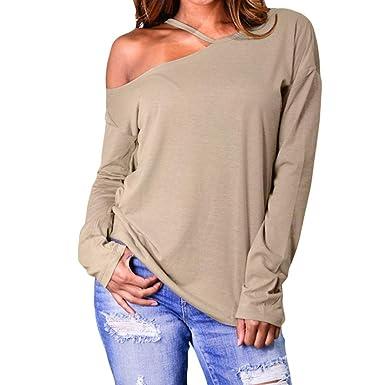 321a1452805ba2 Amazon.com  Plus Size Women Solid T-Shirt Off-Shoulder Hole Irregular Long  Sleeve Blouse Top Duseedik  Clothing