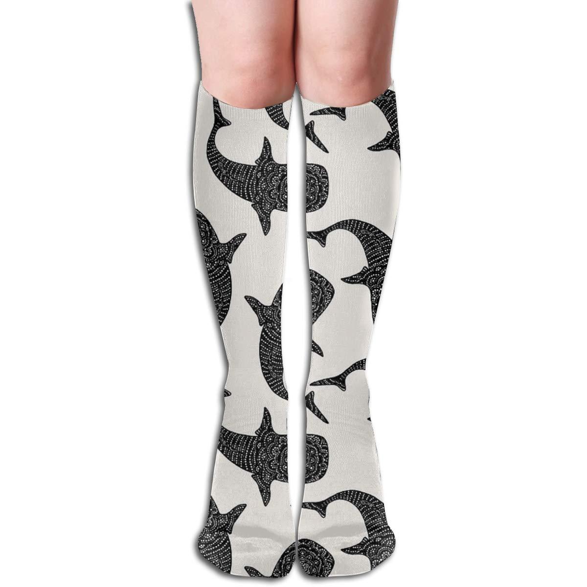 Marokintana Whale Shark II Compression Socks Soccer Socks High Socks For Running,Medical,Athletic,Edema,Varicose Veins,Travel,Nursing.