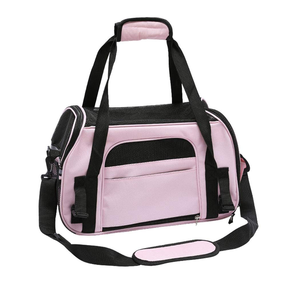 Pink Alapet Cation Oxford Cloth Portable Diagonal Pet Out Bag, Multi-color Optional Large Space Four-Sided Ventilation Pet Bag, Safety Lock Multi-Function Side Bag Small Pet Travel Bag (color   Pink)