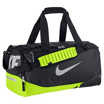 Nike Vapor Max Air Small Duffel Sports Bag Black Black/Volt/Metallic Silver  Size