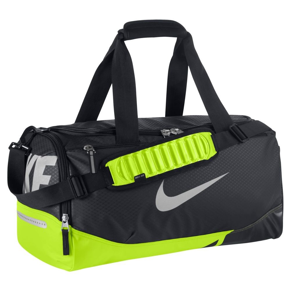 Amazon.com   Nike New Vapor Max Air Small Duffel Bag Black Volt Metallic  Silver   Sports Duffels 38ff30219e