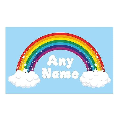 100cm x 54cm Rainbow Wall Art. Choose any name vinyl sticker 3 sizes, full colour decal