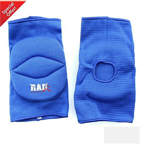RAD One Pair PolyCotton Nonslip Elastic Fiber Knee Pads Protector Sports Volleyball Football Gym (Blue, Junior)