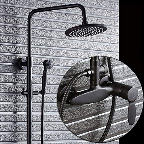 (XUEME Rain Shower System 3-Function Bathroom Rain Shower Mixer Set Slim Round Top Shower Head and Handheld Shower)