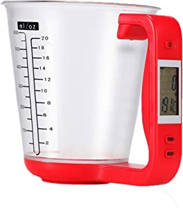 YYGIFT Digital Measuring Cups Scale Cups with LCD Display Kitchen Food Volume Weight Measurement Tool - Red