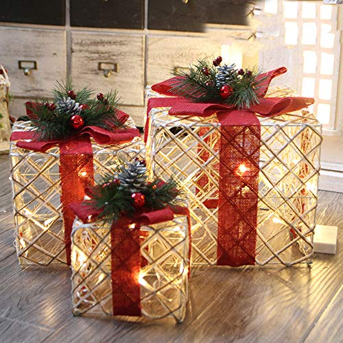 - Euone  Christmas, Christmas Luminous Gift Box Home Outdoor Decoration Set of 3 Glowing Xmas Package