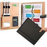 Designer Best Leather Portfolio Binder with Calculator Black 3 Ring Padfolio Business Folder Stylish Interview Portfolio Cove