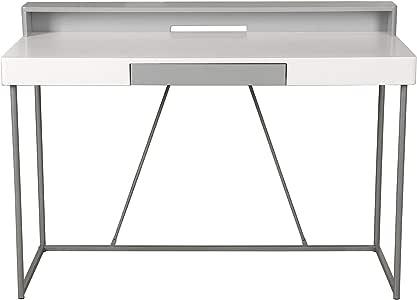Vogue Office Desk, White/Grey, H57 x W126 x D17 cm